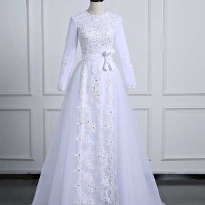 Long Sleeve Wedding Dresses Tulle F..