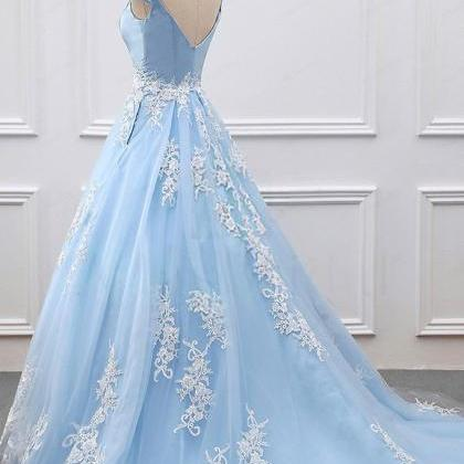 Sexy Blue Prom Dresses Ball Gowns L..