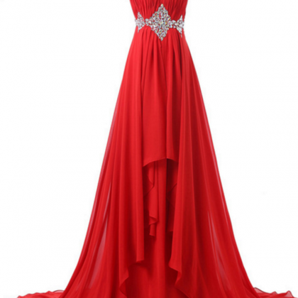 A red, elegant formal ball gown wit..