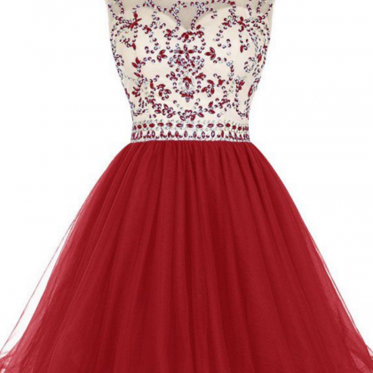 Homecoming Dresses Dark Red Capped ..