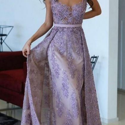 Purple Evening Gowns With Detachabl..