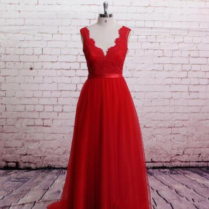 Handmade High Quality Classic Lace Red Prom Dress Brush Train Prom Dress A-Line Red Bridesmaid Dress Sweetheart Party Dresses Formal Dresses