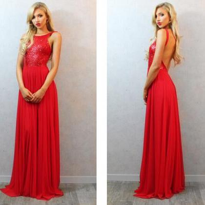 Elegant Sequined Long Backless Red ..