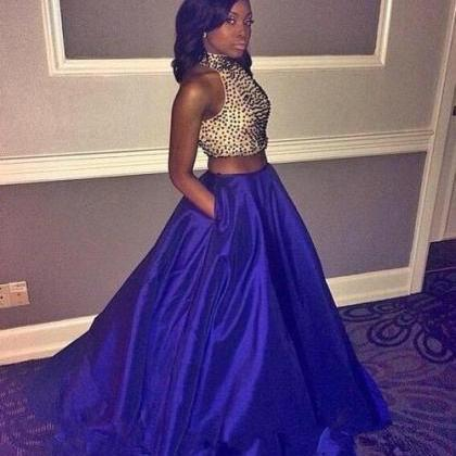 Royal Blue Prom Dresses 2 Piece Prom Gown Two Piece Prom Dresses Satin Prom Dresses New Style Prom Gown 2016 Prom Dress