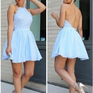 Homecoming Dresses,Halter Backless..