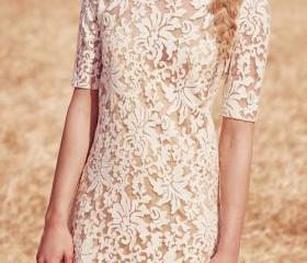 Solid Color Openwork Lace Hook Backless Dress