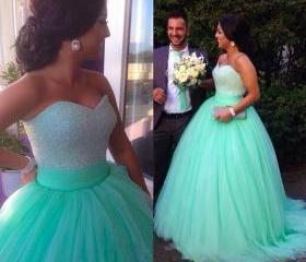 2015 Luxury WEDDING DRESSES Eveing Dresses SEXY Wedding Gown Tulle A-Line Prom Dress Long A-Line DRESSES BLUE Evening PARTY DRESSES