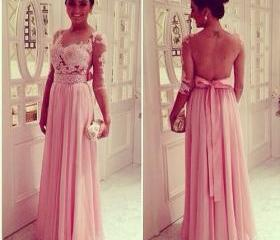 Pretty Handmade Pink See Through A Line Sweetheart Beaded Long Prom Dresses 2015 Long Prom Dresses Evening Dresses