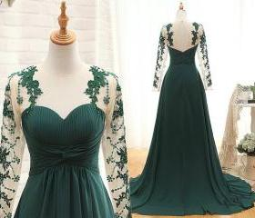 Handmade Long Sleeve Prom Dress Pleated Dark Green Long Sleeve Bridesmaid Dresses Party Dresses Evening Dresses