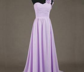 Custom Long Floor Length Chiffon Sweetheart Prom Gown 2015 PromDresses Purple Bridesmaid Dresses Cute Formal Dresses Eveening Dresses