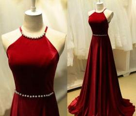 Charming High Quality Dark Red Halter Neckline Cross Back Prom Dresses 2016 Long Prom Dresses 2016 Evening Gowns