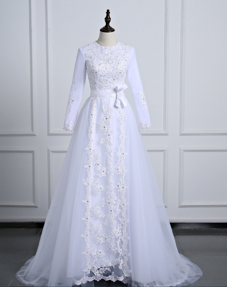 Long Sleeve Wedding Dresses Tulle Floor Length Bridal Dresses with Lace Appliques