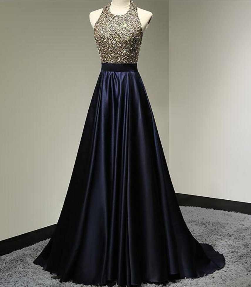 Floor Length Halter Neckline Open Back Dark Navy Blue Prom Dresses