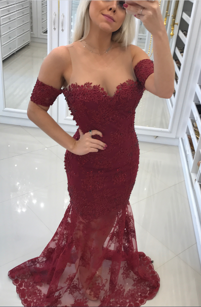 Burgundy Appliques Lace Mermaid Evening Dresses with Short Sleeves