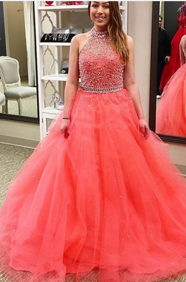 Charming Prom Dress, Elegant Ball Gown Prom Dresses, Sleeveless Beaded Evening Dress, Beaded Prom Dress