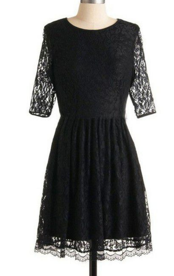 Homecoming Dresses Black Half-Sleeve Open Back Lace Above Knee Scoop A Line