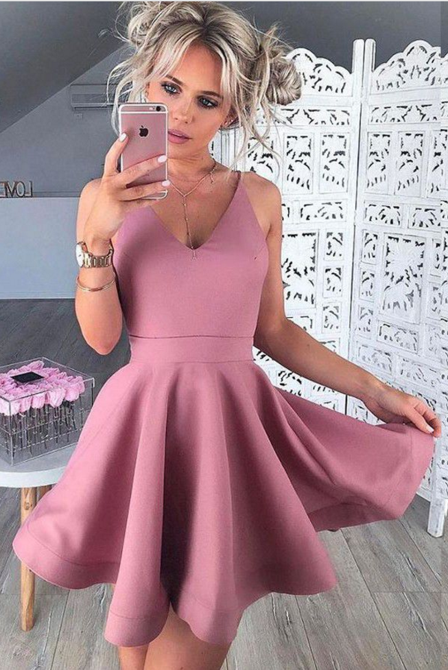 Homecoming Dresses Blush Sleeveless Matte Satin Zippers No Mini V Neck Aline