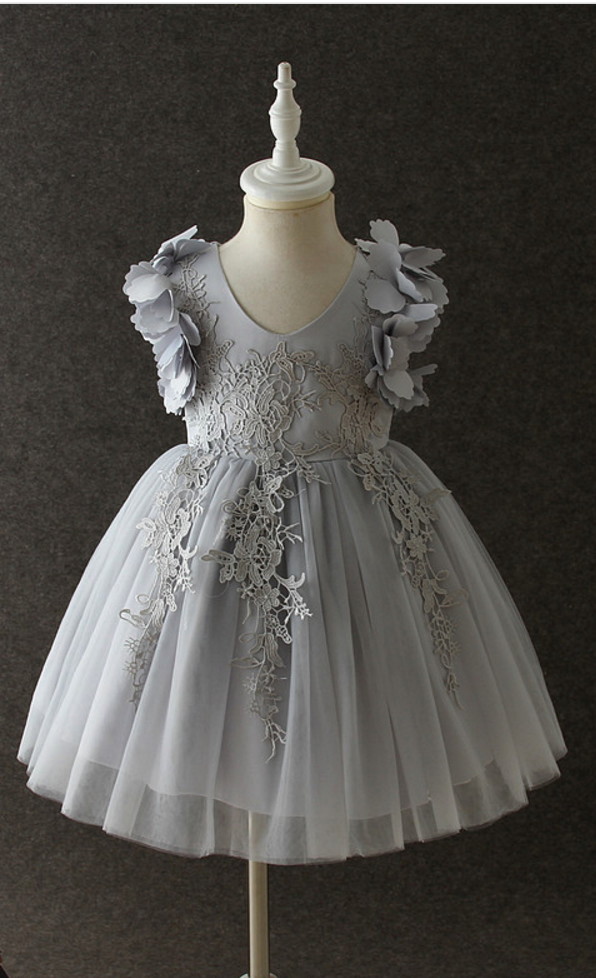 Infant Baby Birthday Party Formal Wedding Flower Girl Dress Baptism Toddler Princess Lace Kids Children Clothes gray