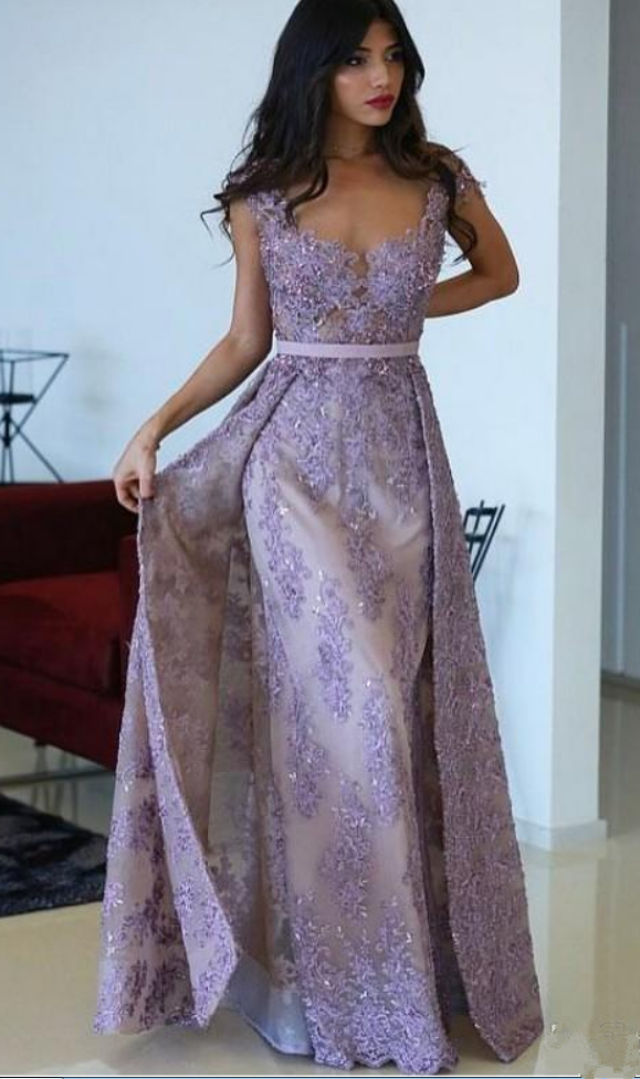 Purple Evening Gowns With Detachable Train Lace Applique Sheer Jewel Neck Dresses Evening Wear Cap Sleeve Elegant African Dress