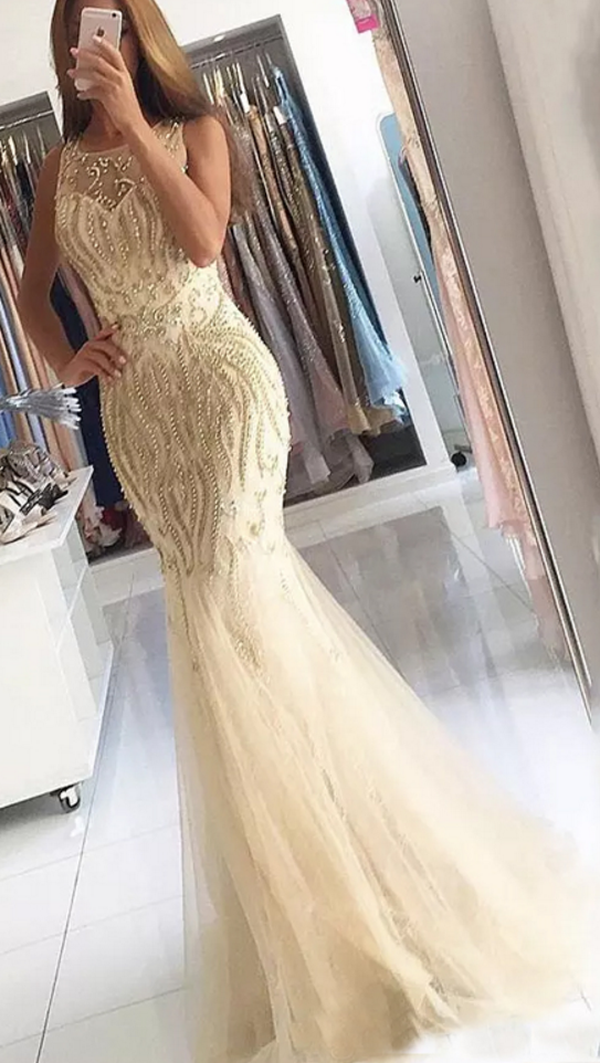 Long Prom Dress, Tulle Prom Dress, Sleeveless Backless Prom Dress, Beading Prom Dress, Sexy Prom Dress, Floor-Length Party Dresses,