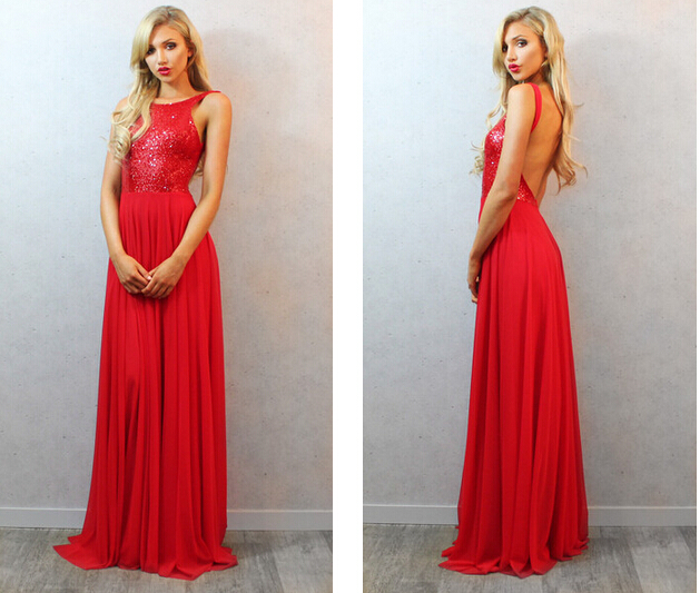 Elegant Sequined Long Backless Red Prom Dress, Open Back Sexy Evening Dress