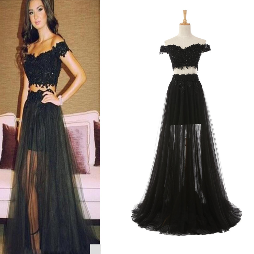 ... Black Prom Dress Lace Prom Dresses Fashion Prom Dressn Two Piece Prom