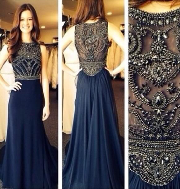Custom Made A Line Dark Navy Blue Beaded Long Prom Dresses 2016 ...