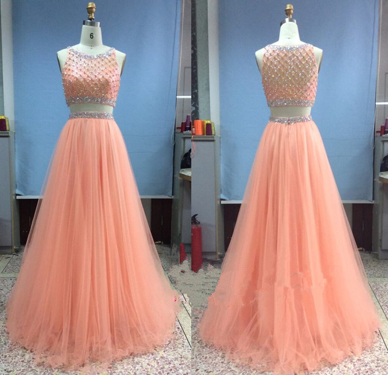 tulle long beadings two pieces light coral prom gowns