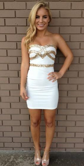 Sexy Short White Sweetheart Homecoming Dresses.Modest Mermaid Homecoming Dresses,Cocktail Dresses