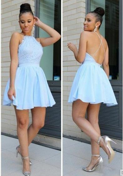 Homecoming Dresses,Halter Backless Top Lace Homecoming Dresses