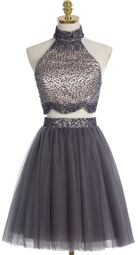 Custom Made Black Sleeveless High Neckline Short Two-Piece Tulle A-Line Homecoming Dress, Graduation Dress with Beading