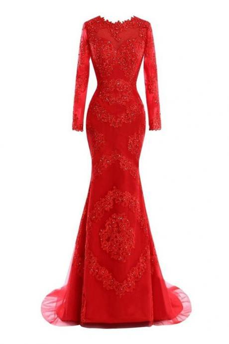 Evening Dress Real Picture Vestidos Longo Elegant Long Sleeve Red Prom Dresses Mermaid with Lace Appliqued