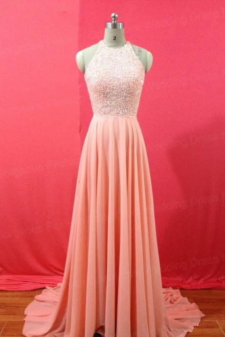 A Line Chiffon Evening Dress Long Backless Beaded Prom Gowns