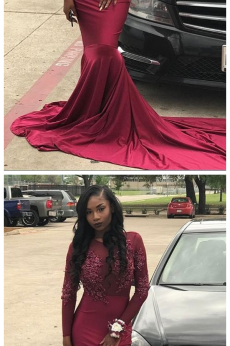 Appliques Sheer Burgundy Mermaid Long Sleeve Long Train Prom Dress