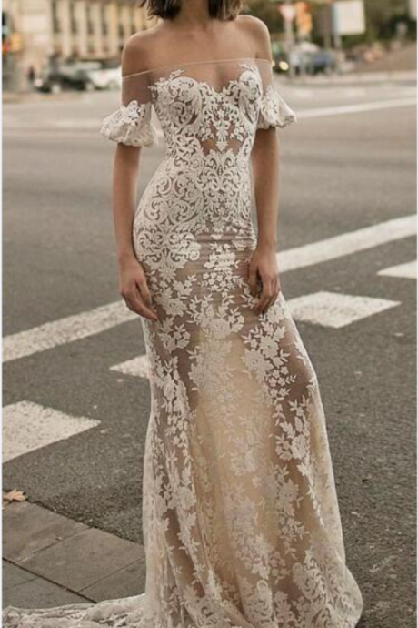 Sheer Off-the-Shoulder Lace Mermaid Wedding Dress with Puffed Short Sleeves