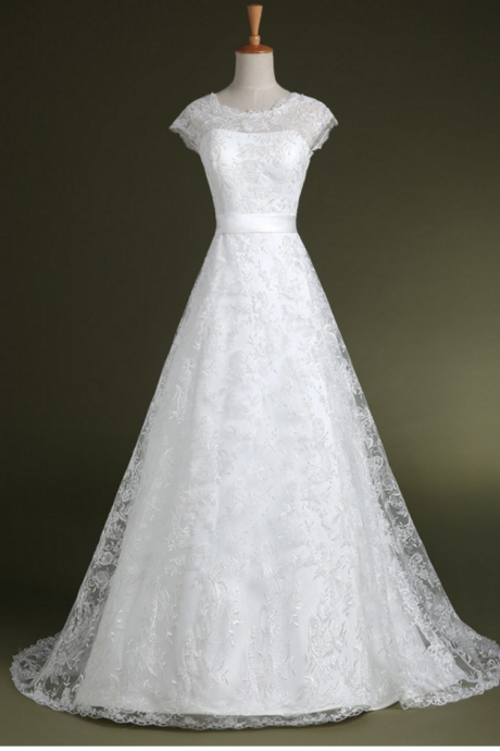 Cap Sleeves A-line Lace Wedding Dresses Floor Length Women Bridal Gowns