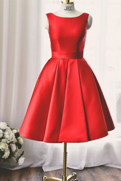 Red Homecoming Dresses Sheer Back Sleeveless A Line Bateau Above Knee Bows