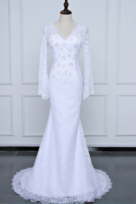 Long Sleeve Lace Wedding Dresses , Fashion summer Beach Gown Sexy Backless Bridal Dresses