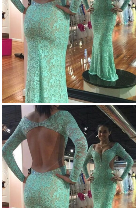 Charming Prom Dress, Sexy Evening Party Dress,Long Sleeve Evening Dress,Lace Evening Formal Dress