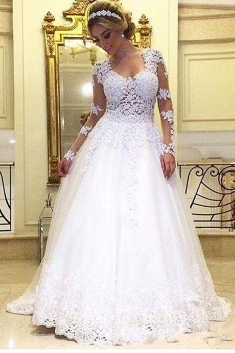 Vintage White Lace Wedding Dress With Long Sleeve A Line Bridal Dress Plus Size Appliques Tulle Robe De Marriage Sexy V Neck