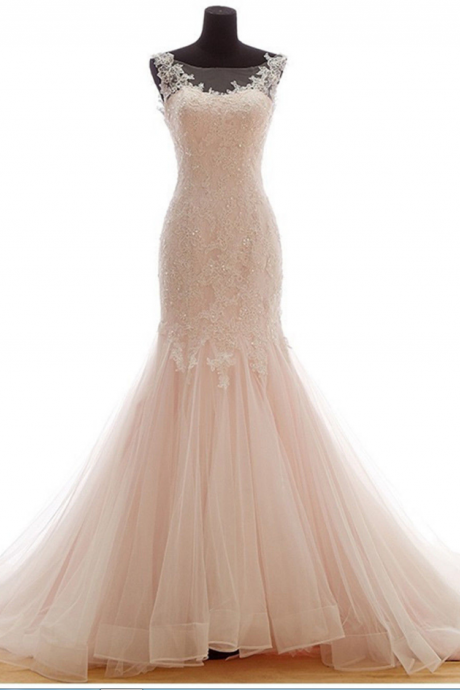 Trumpet Tulle Wedding Dress Embellished with Lace Applique and Beads with Sweetheart Illusion Neckline