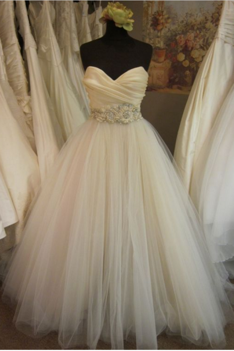 wedding dress,A-line/Princess Pleated Bodice Blush Wedding Dresses with Embellished Waist