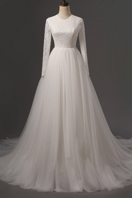 Round Neck Lace Appliqués A-line Tulle Wedding Dress Featuring Long Sleeves and Long Train