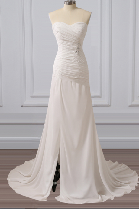 Strapless Sweetheart Ruched Chiffon A-line Long Wedding Dress Featuring Side Slit