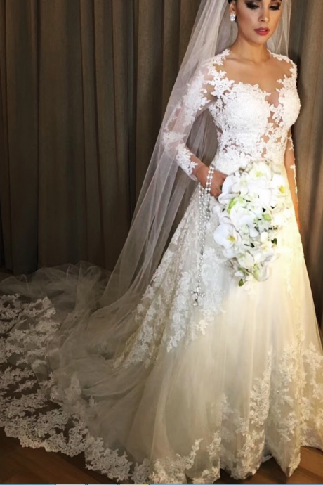 Sheer Lace Appliques Bridal Dresses with Long Sleeves,A Line Lace Bridal Dresses,Wedding Dresses