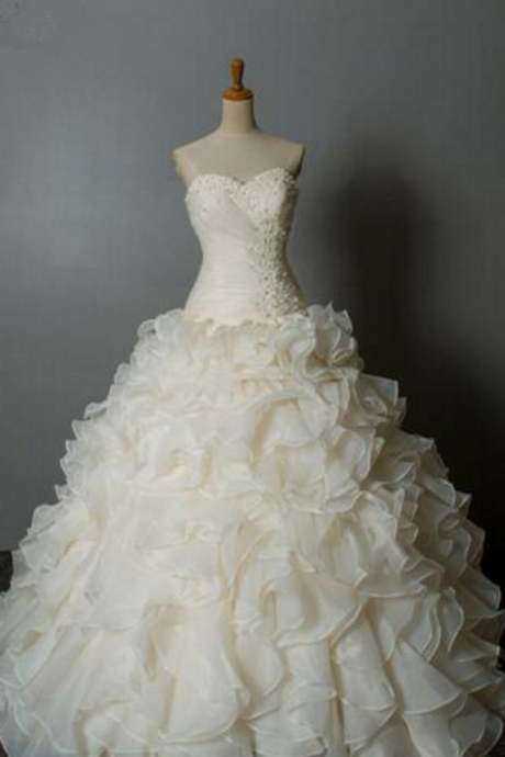 Beaded Organza Ruffle Sheath wedding dresses Bridal Gowns Beaded Bride Wedding Dresses