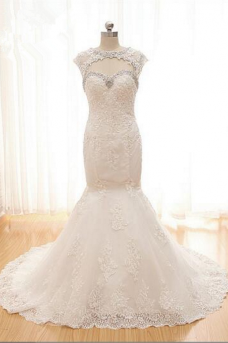 Removable Keyhole Jacket Overlet Lace Mermaid Wedding Dress Beaded Keyhole Front Lace Bridal Gown