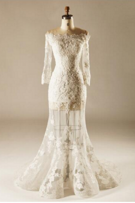 New Arrival Mermaid Wedding Dress Long Sleeve Boat Neck Lace-up Bride Wedding Dress