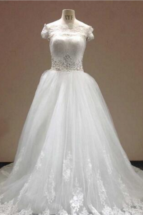 Real Photo Sweetheart Applique Lace Up A Line Royal Train High Quality Lace American Tulle Elegant Wedding Dress