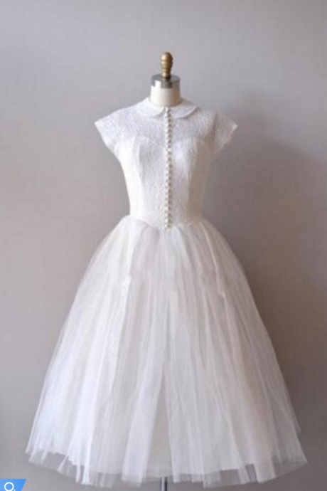 Vintage Knee-length Short Tulle Wedding Dress with Cap Sleeves and Collar